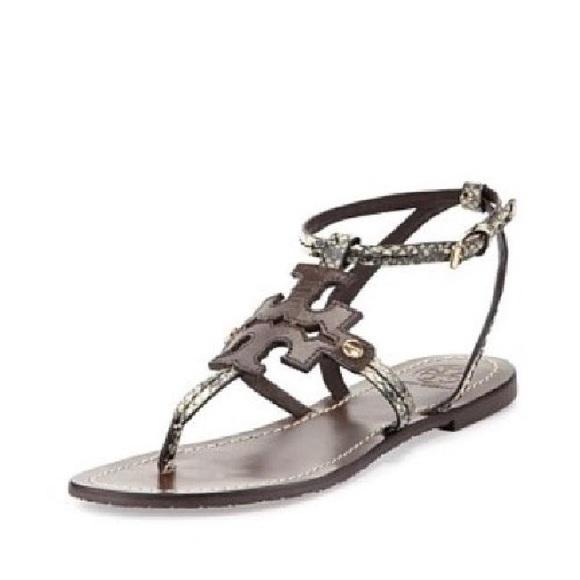 5a69d08333606e Tory Burch Snakeskin Chandler Flat Thong Sandals. M 5b86e5f1800dee85d0c3174b
